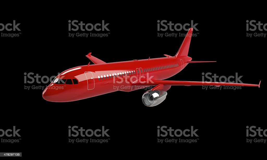model of red airplane isolated on black royalty-free stock photo