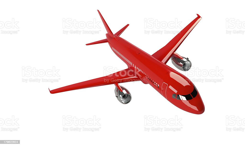 model of red airplane isolated on white royalty-free stock photo