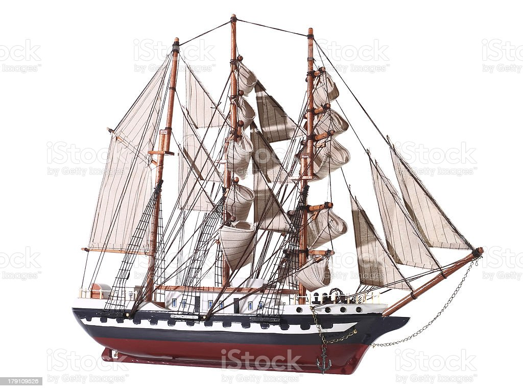 Model of sailing frigate. Isolated. royalty-free stock photo