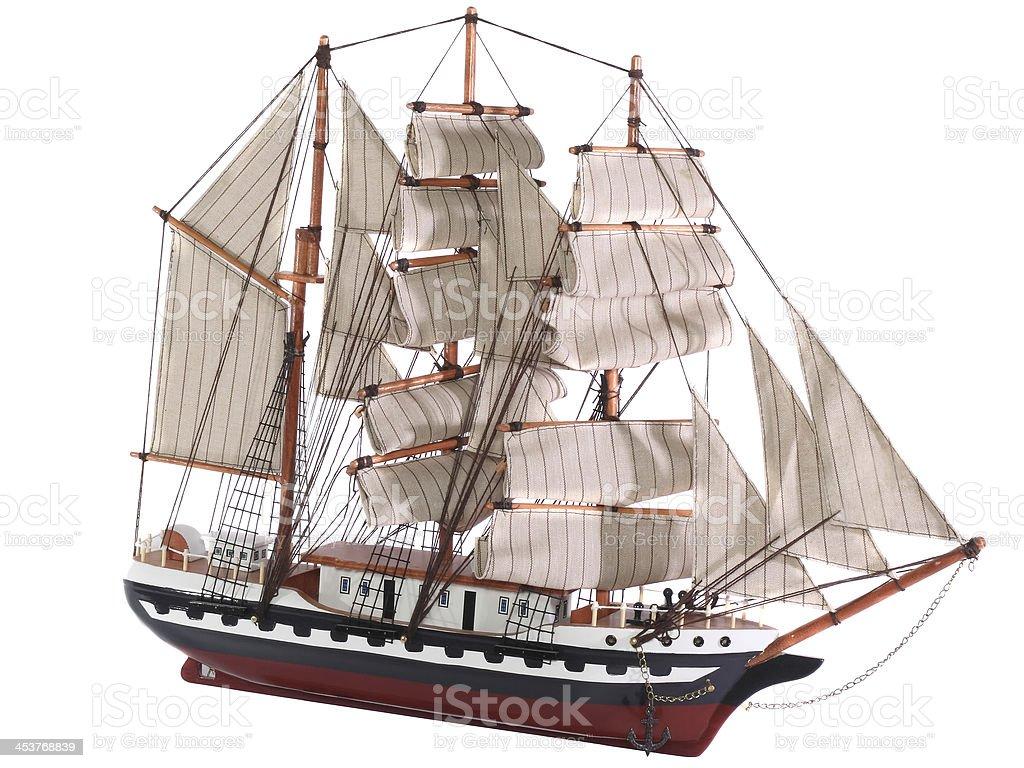 Model of sailing frigate. Isolated. stock photo