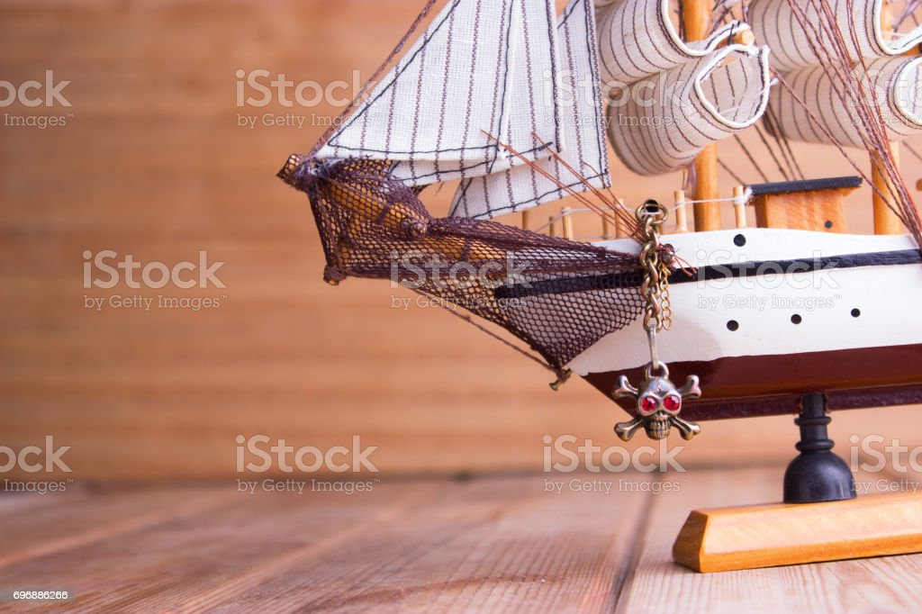 model of ships on the wooden table stock photo