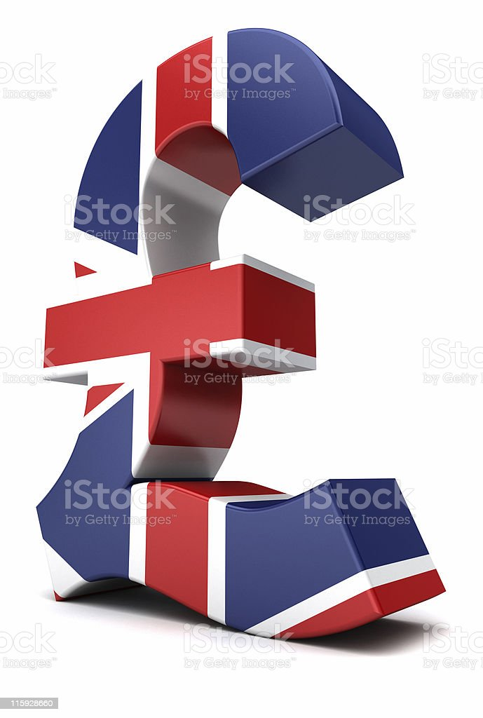 A model of the British pound painted in Union Jack stock photo