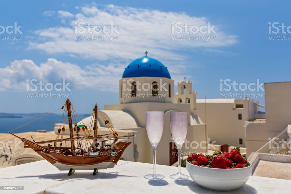 Model of the frigate in the background Santorini stock photo