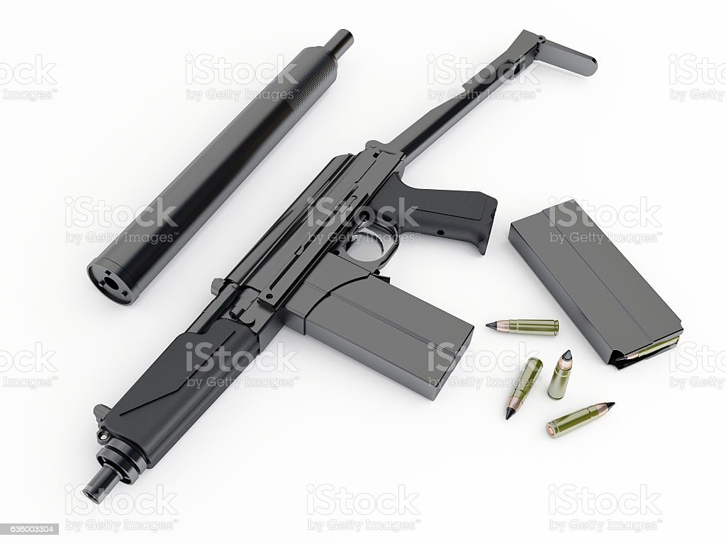 Model of the Russian compact tommy-gun stock photo