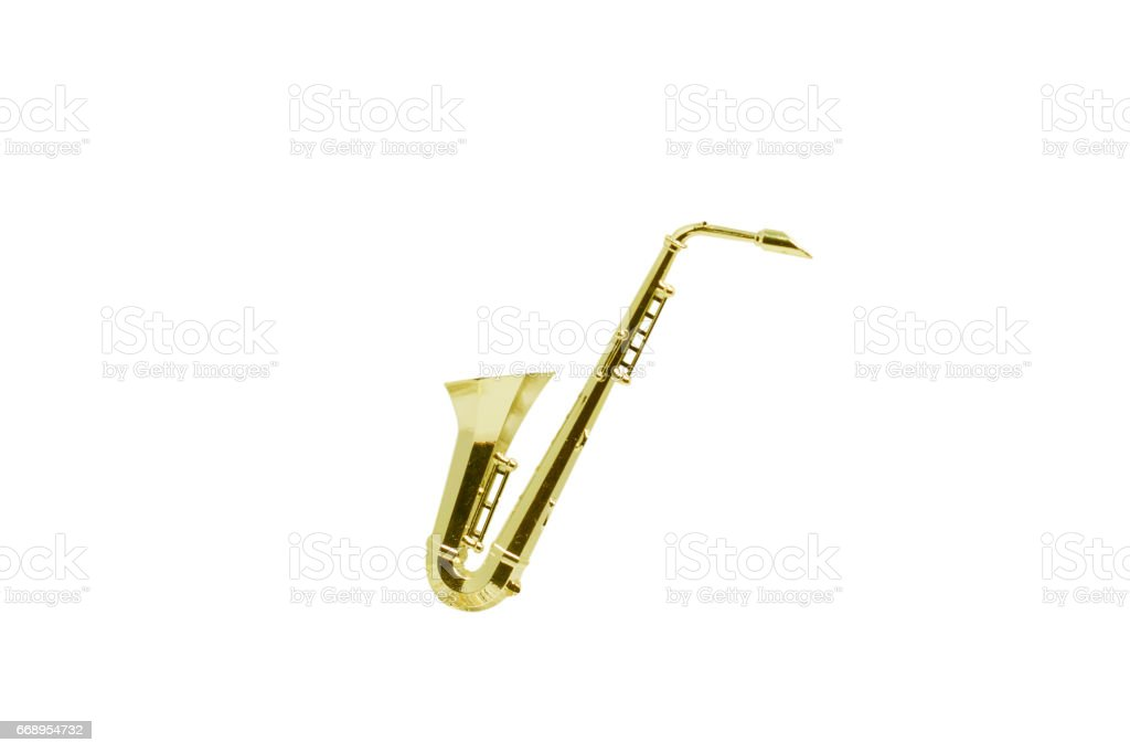 Model of toy bronze saxophone on isolated white background stock photo