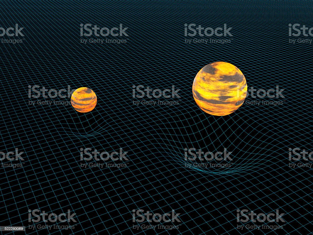 Model of two objects and their gravitation stock photo
