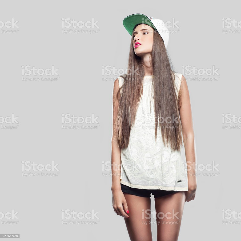 model on a gray background youth style stock photo