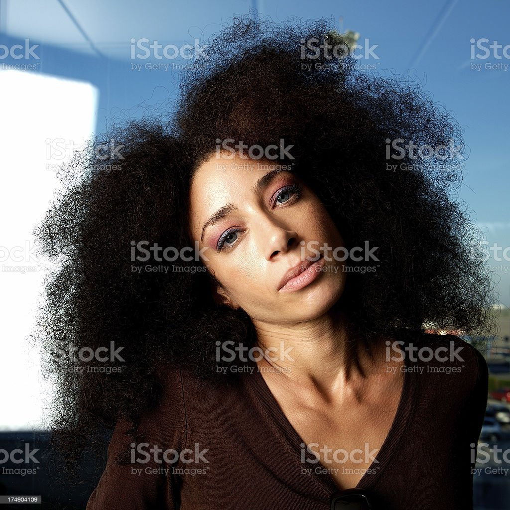 Model on the airport royalty-free stock photo