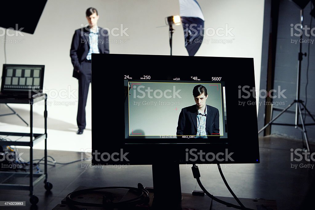 Model on Video Screen royalty-free stock photo