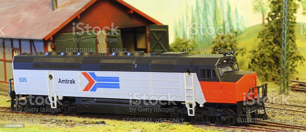 Model Railroad Layout with Amtrak FP-45 locomotive stock photo
