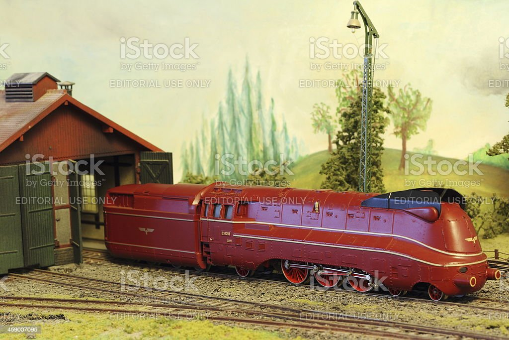 Model Railroad Layout with German BR 03 locomotive stock photo