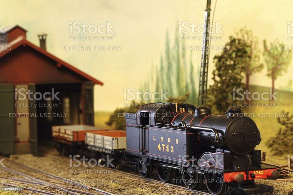 Model Railroad Layout with LNER Steam Locomotive stock photo