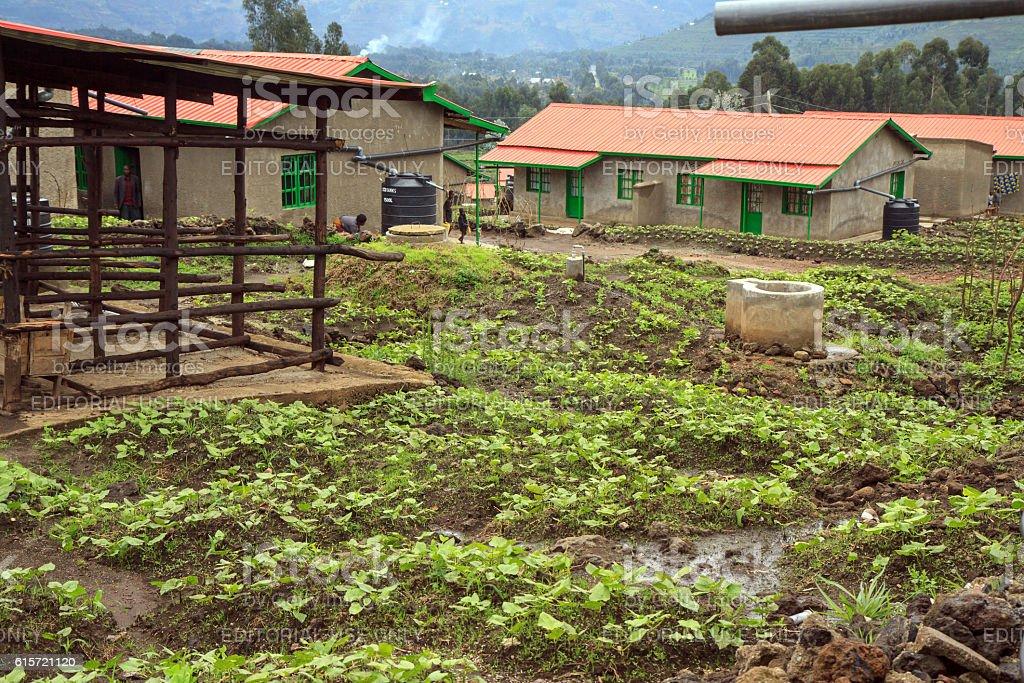 Model resettlement village in Northern Rwanda stock photo