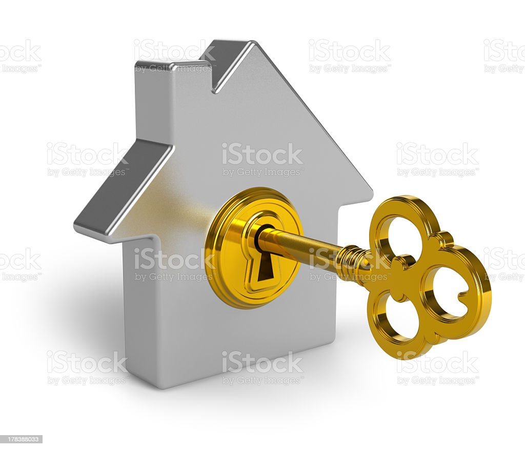 A 3-D model shaped like a house with a gold lock and key stock photo