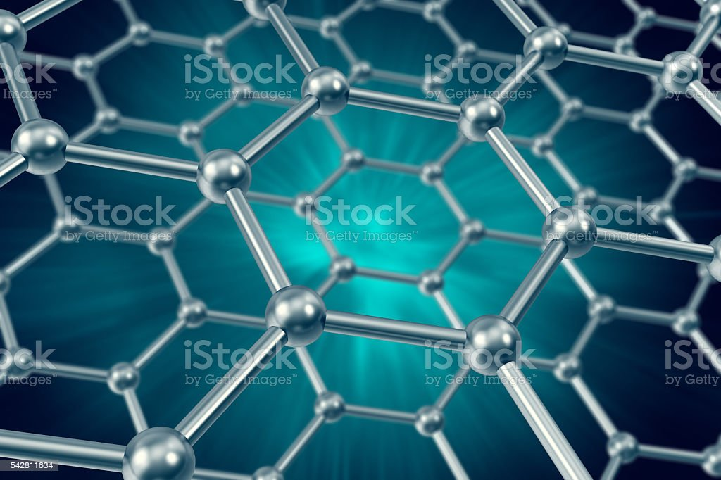 Model structure of graphene sheets on a blue background. 3d stock photo