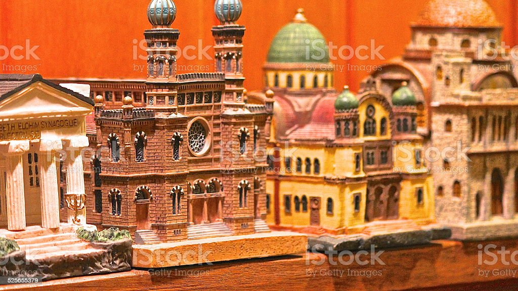Model synagogue replica Tzedakah (charity) Boxes stock photo