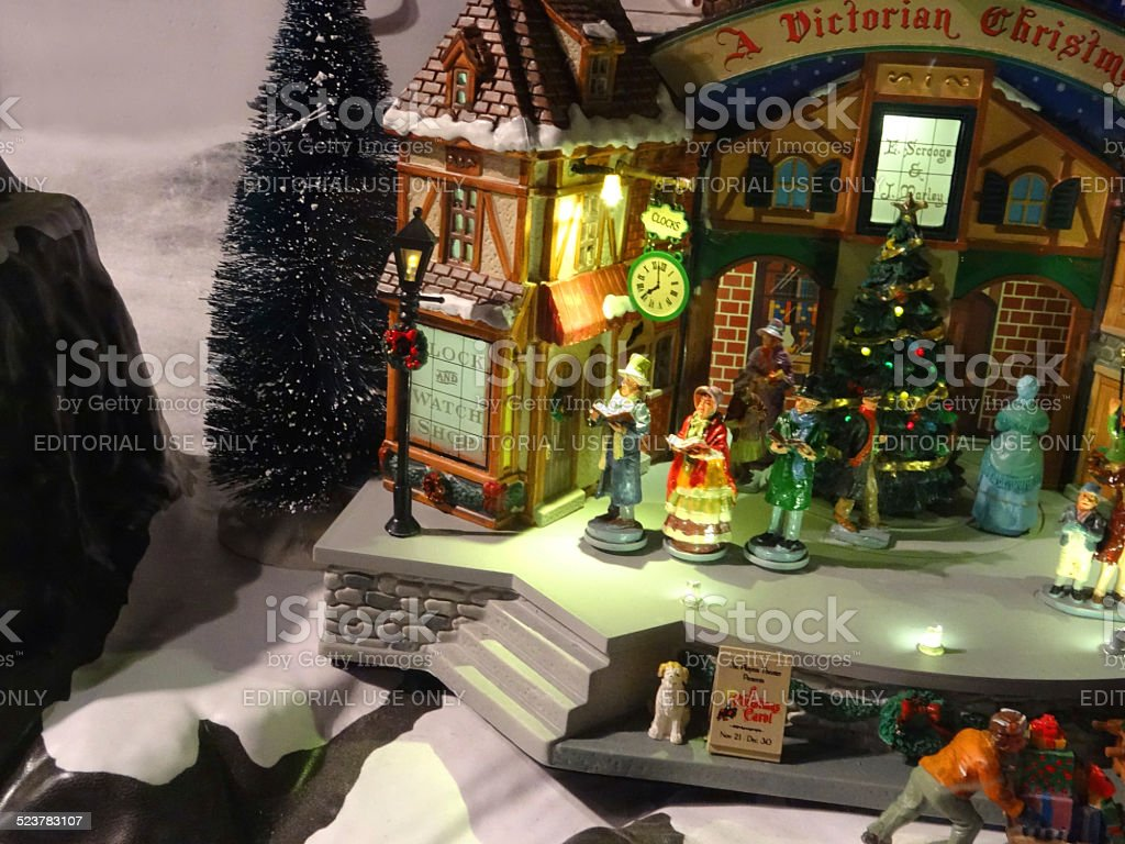 Victorian miniature houses - Model Victorian Dickens Christmas Village With Miniature Houses People Winter Scene