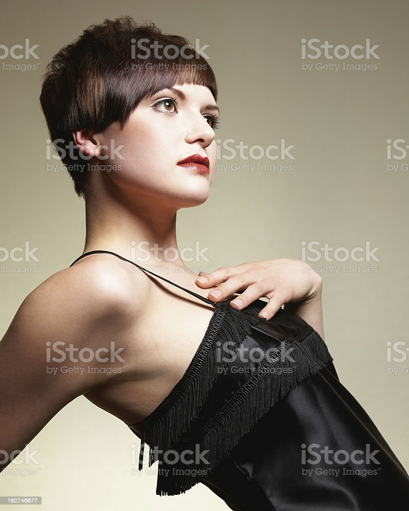 Model Wearing Black Dress. Isolated. royalty-free stock photo