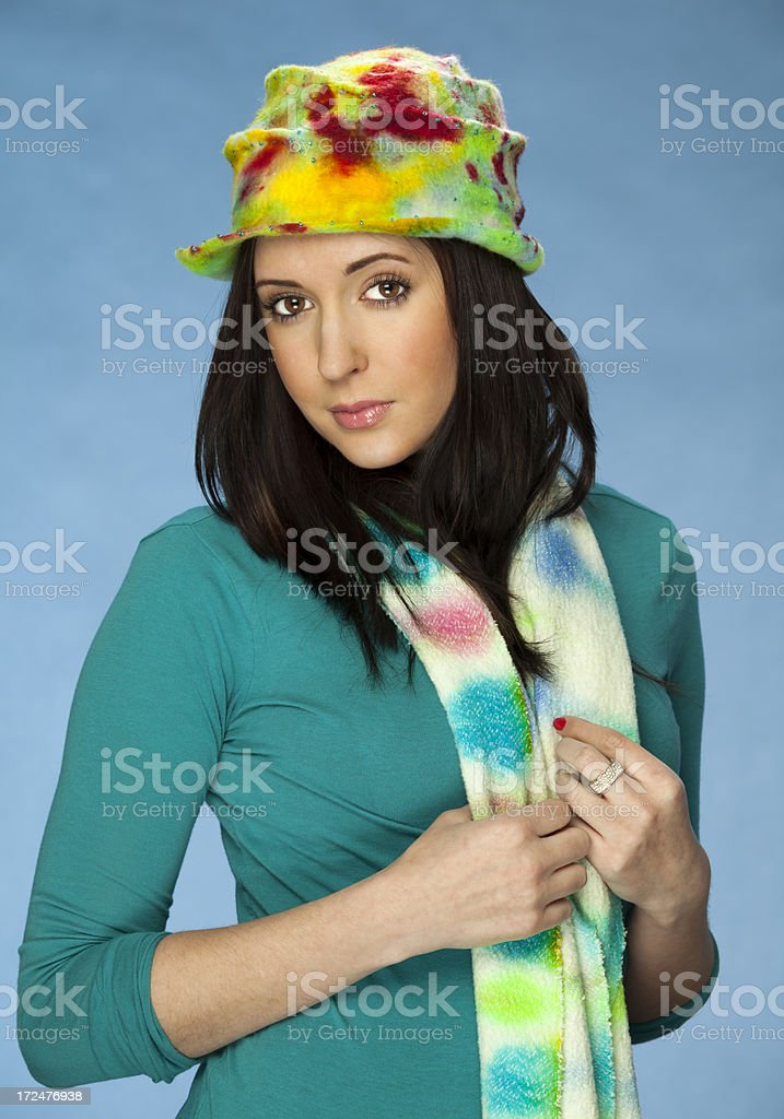 Model Wearing Colorful Spring Hat and Scarf royalty-free stock photo