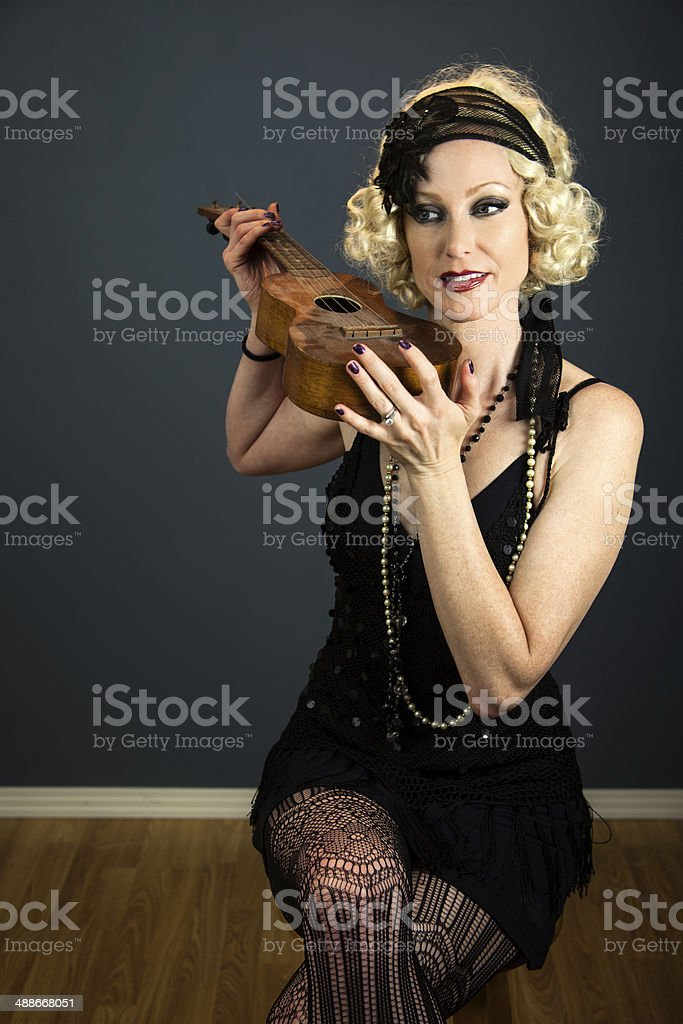 Model With A Dusty Ukelele royalty-free stock photo