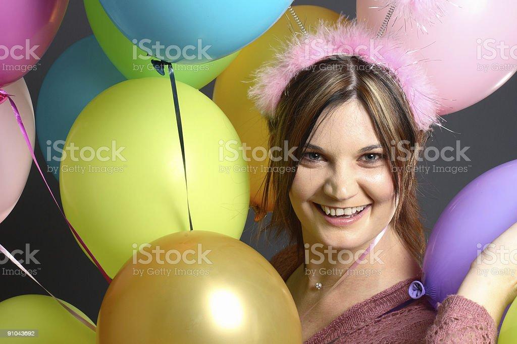 Model with alien antenna balloon stock photo