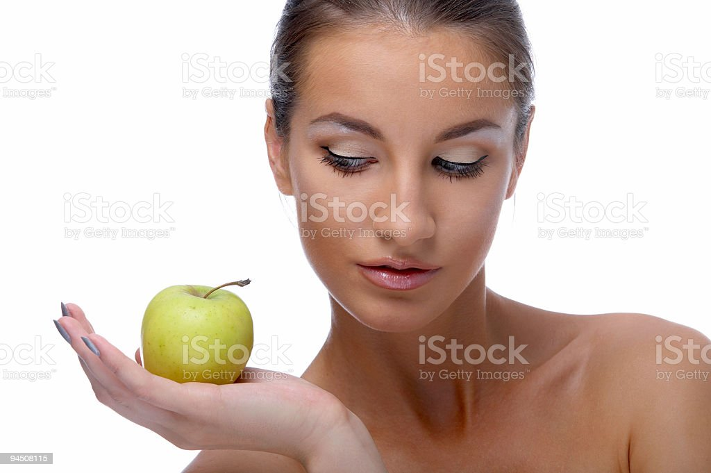 model with apple stock photo
