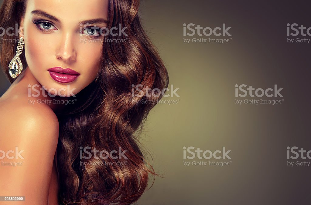 Model with dense, curly hair. stock photo