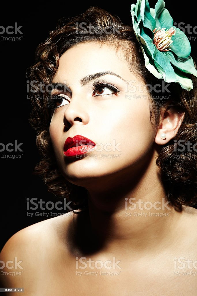 Model with Flower in Hair royalty-free stock photo