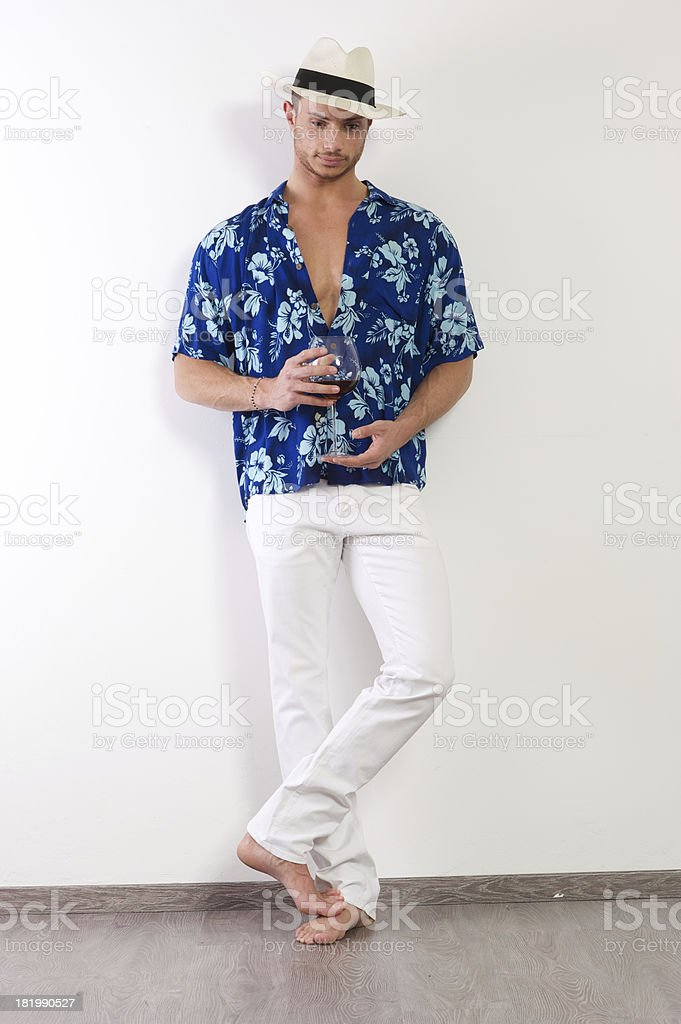 model with glass of wine royalty-free stock photo