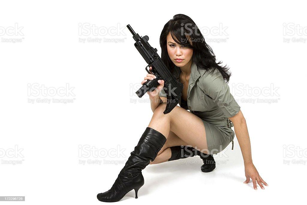 Model with gun stock photo