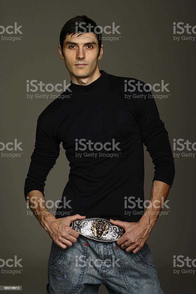 Model with large belt buckle royalty-free stock photo