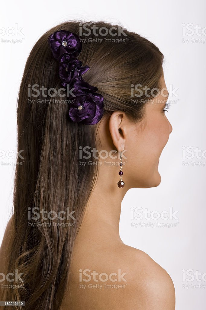 Model with Purple Hairpin stock photo