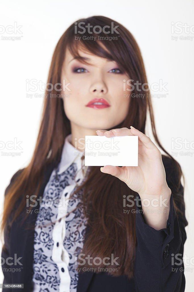 Modell mit weißer Karte Lizenzfreies stock-foto