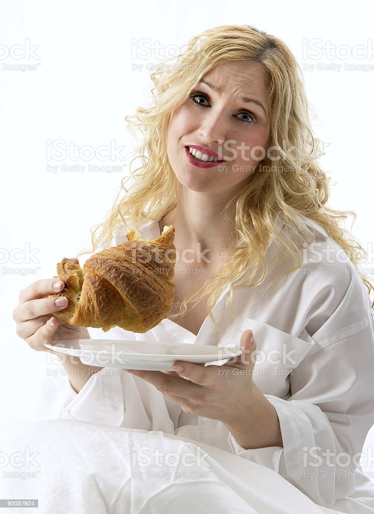 Model worried about fat royalty-free stock photo