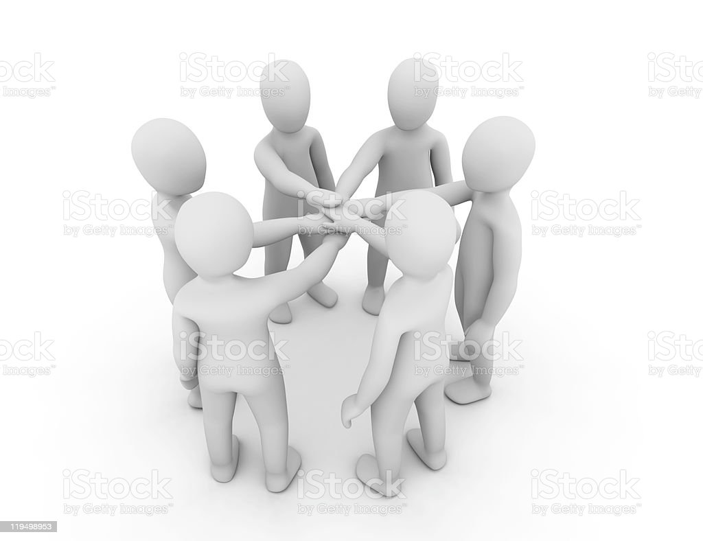 3D models of blank humans placing their arms in the middle royalty-free stock photo