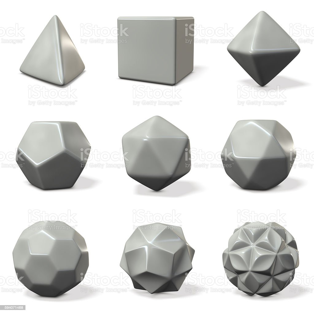 Models of polyhedron. rounded chamfer. stock photo