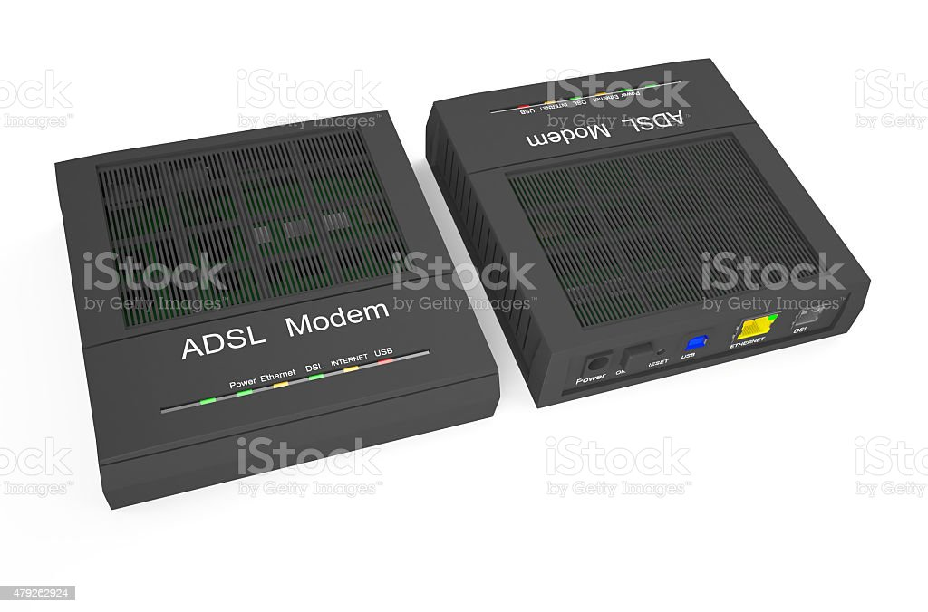 DSL modem, front and back stock photo
