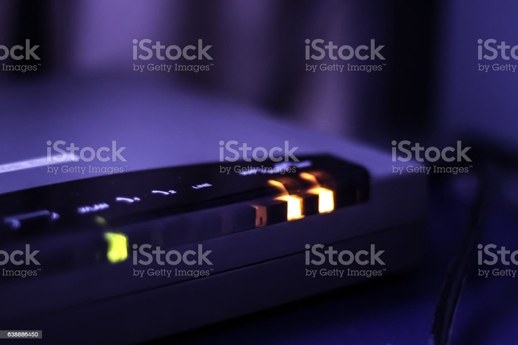 ADSL modem in sync stock photo