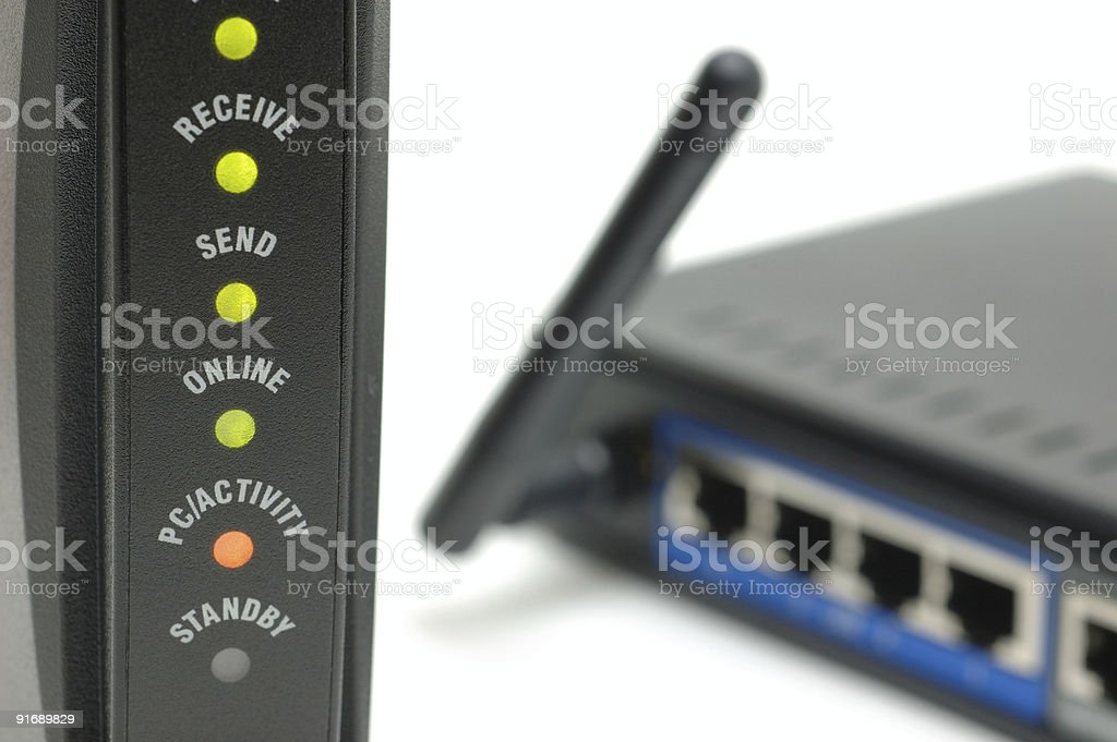 modem lights and router stock photo