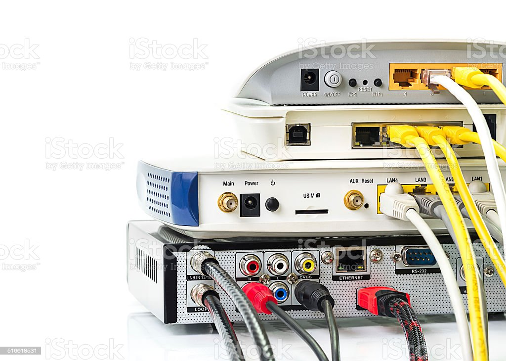 Modem router network hub stock photo
