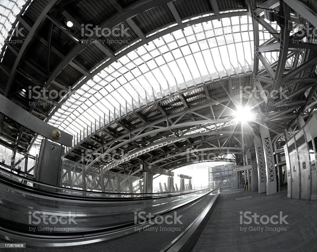 moden train station  black & white royalty-free stock photo