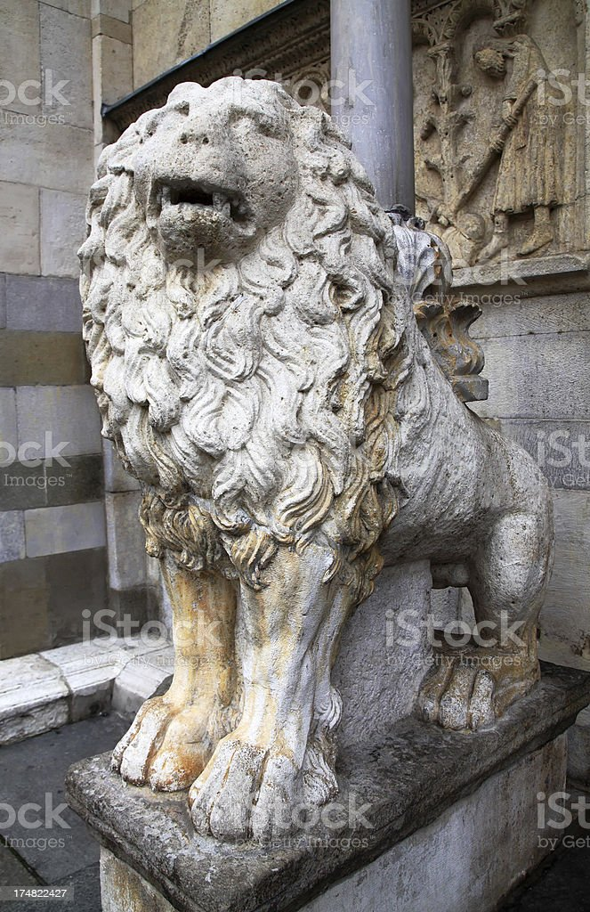 Modena, Cathedral: Lion statue at the main gate royalty-free stock photo