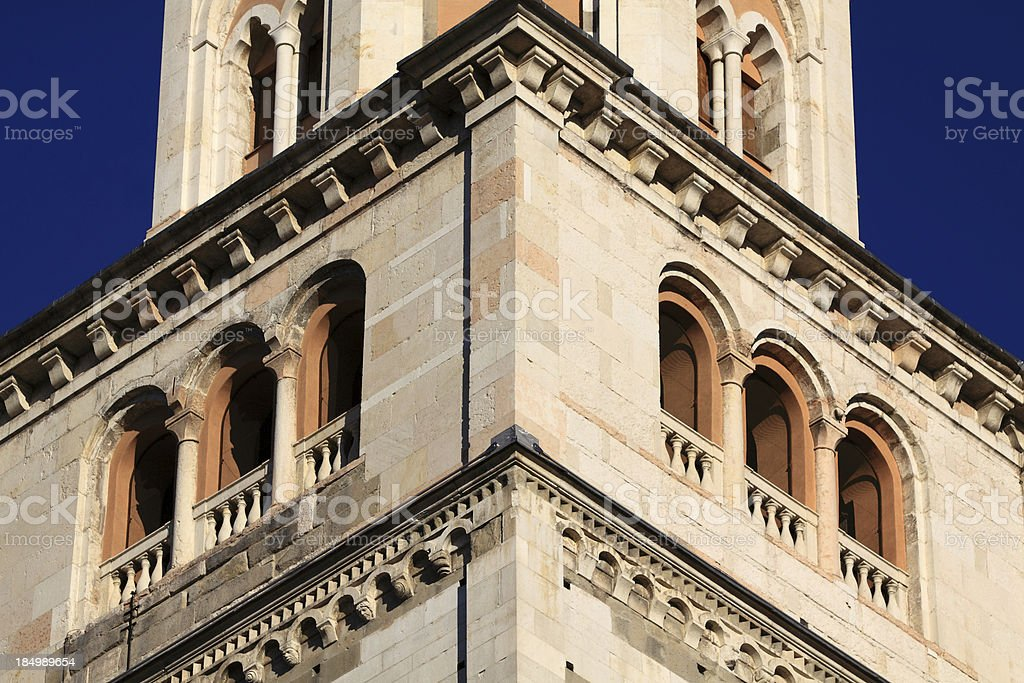 Modena, Cathedral: the Ghirlandina bell-tower. Detail royalty-free stock photo