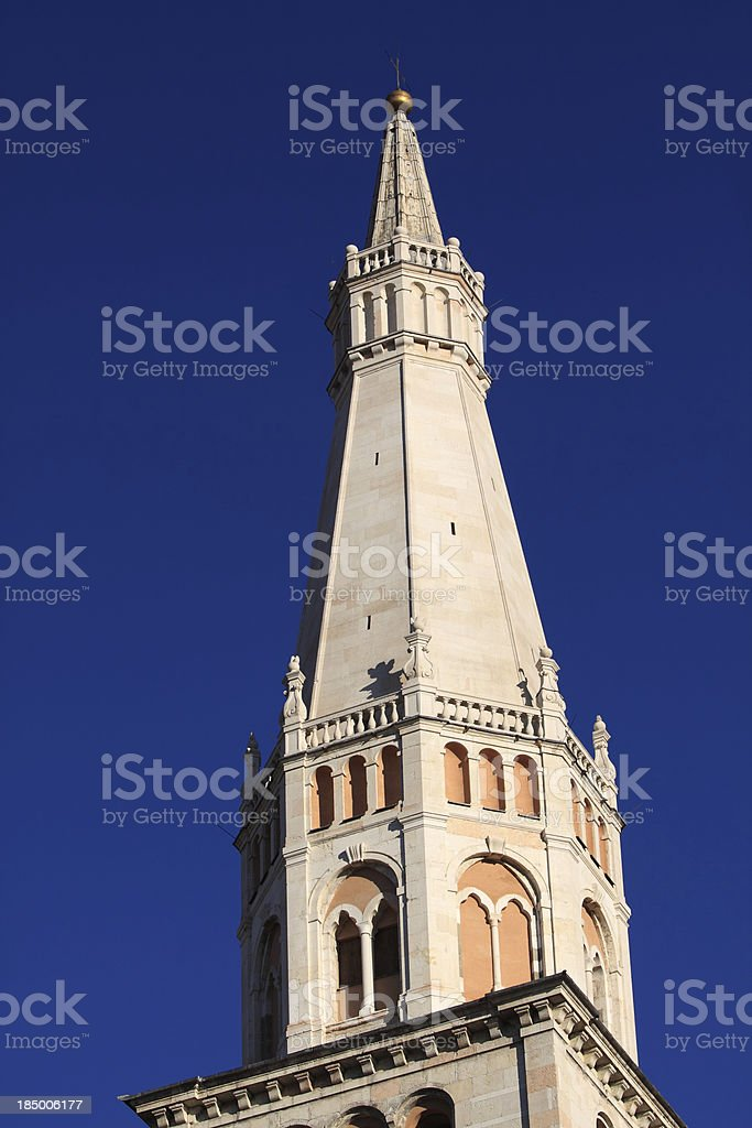 Modena, Cathedral: the Ghirlandina bell-tower. Detail stock photo