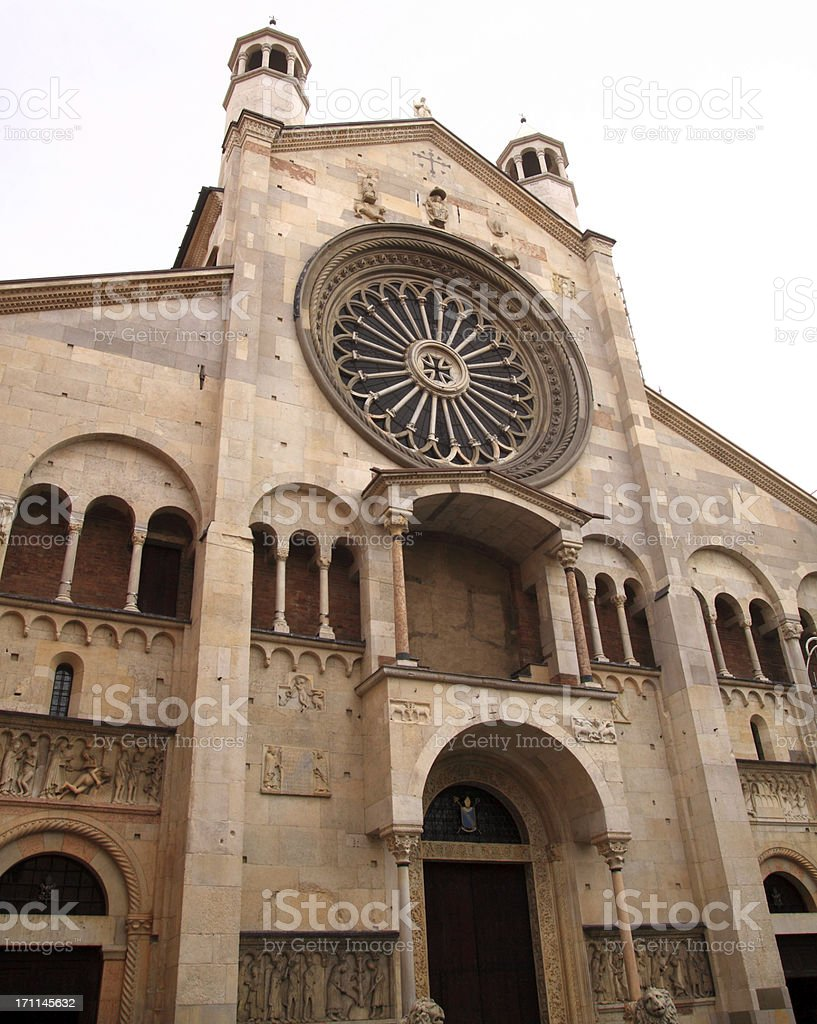 Modena, Cathedral: the main facade with gothic rose window royalty-free stock photo