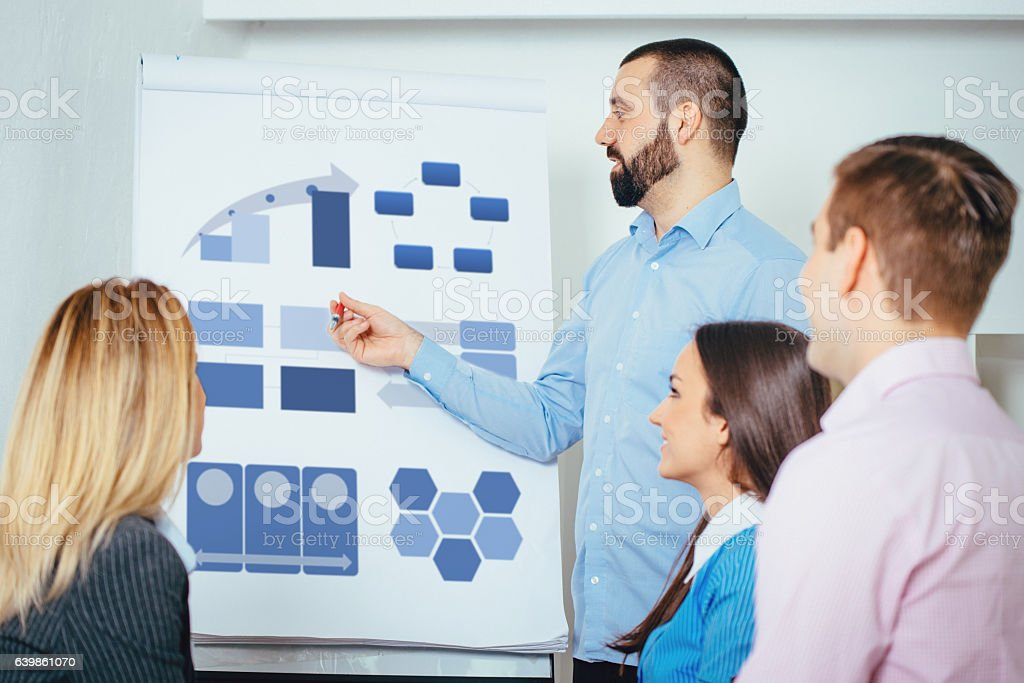 Moderator explains growth and development potentials in start-up businesses stock photo