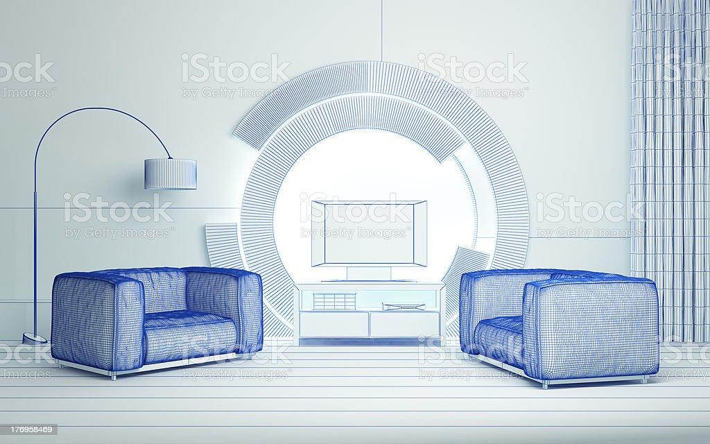 Modern 3d interior royalty-free stock photo