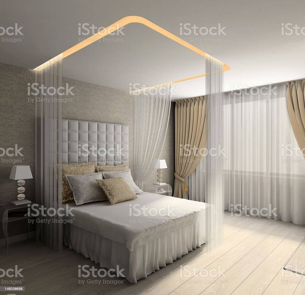 Modern 3D render of an interior of a bedroom royalty-free stock photo