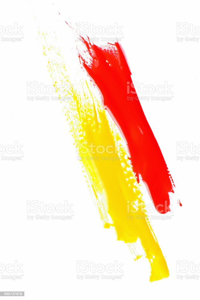 Modern abstract paint, bright red and yellow color stock photo