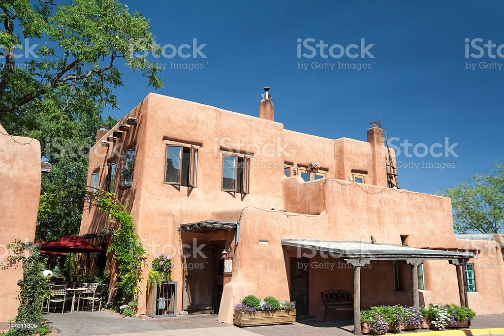 Modern Adobe Restaurant in Santa Fe, New Mexico stock photo